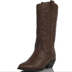 Shoes - Dark tan cowboy knee high pull on boots